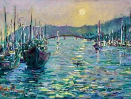 DANA POINT HARBOR SUN   OIL  24″ X 29″   7-11-2020