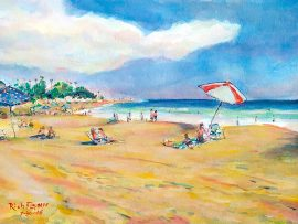 Afternoon at the Beach   San Clemente, Ca  watercolor  16″ x 12″  7-30-16