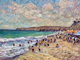 SUMMER AT THE BEACH  San Clemente State Park  Ca.   oil  8″ x 10″   8-1-18