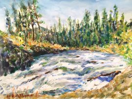 DILLON FALLS   WATERCOLOR   BEND OREGON    12″ X 16″   9-28-17