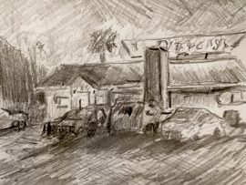 Road House Inn  San Bernardino Ca.  Drawing  10″ x 8″  2-26-17