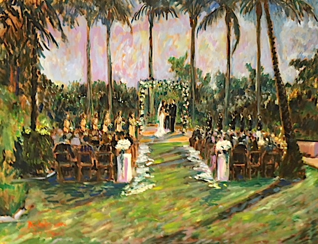 The Ewell Wedding Ceremony   Park Hyatt Aviara  Carlsbad Ca.   oil   30″ x 40″  9-14-19