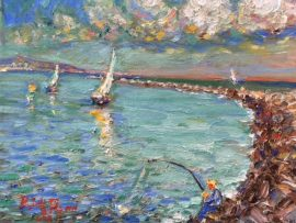 SAILING FISHING  DANA POINT HARBOR   OIL  8″ X 10″ 6-2-18