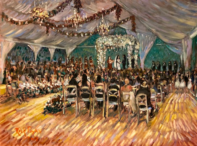 The Gonzales Wedding Ceremony   Four Seasons Hotel  Beverly Hills Ca.  oil   30″ x 40″  11-9-19