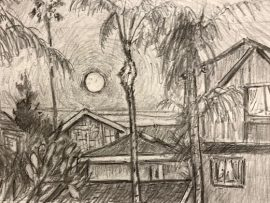 Full Moon Rising  Dana Point Ca.  Pencil  12″ x 14″ 12-11-19