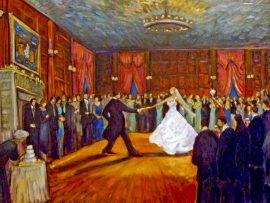 Green Wedding Reception  Studio  Seversky Mansion  Old Westbury New York  oil  30″ x 40″