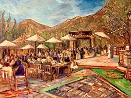 THE GERSON WEDDING     SERENDIPITY GARDENS OAK GLEN CA.  OIL  30″ X 40″  7-3-18