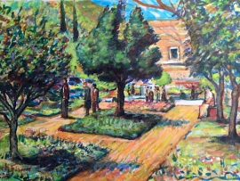 GETTY VILLA HERB GARDEN    WATERCOLOR  16″ X 10″  7-22-19