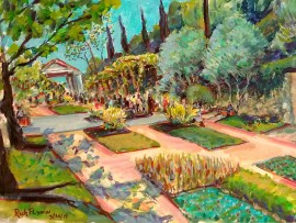 GETTY VILLA Malibu Ca. water color 16″ x 12″ 3-24-16