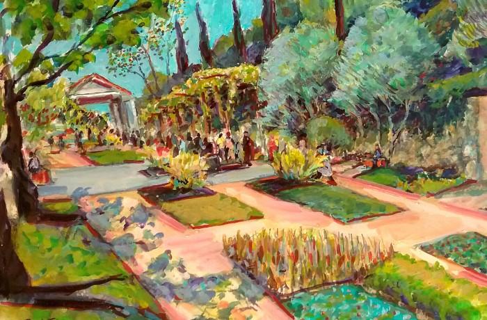 GETTY VILLA Malibu Ca. water color 16″ x 12″ 3-24-16