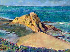 GOFF ISLAND LAGUNA BEACH Ca.    Watercolor  20″ x 14″  Commissioned  5-16-2020