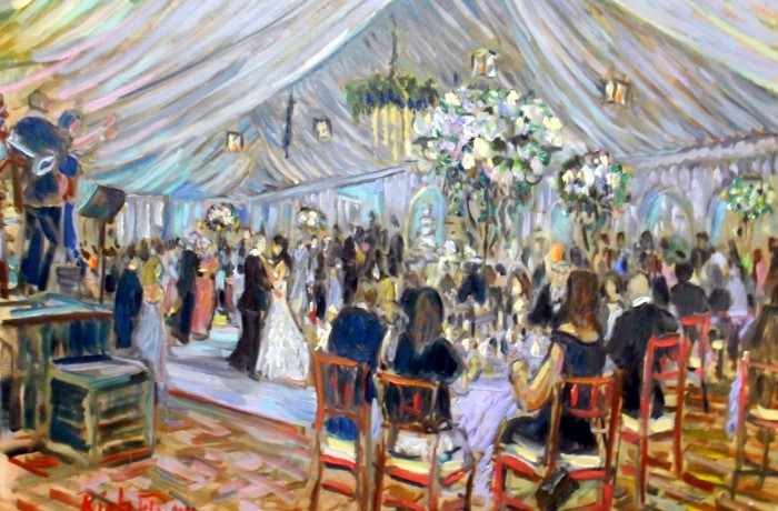 The GORDON COHN WEDDING SantaLuz Club  Rancho Santa fe ,Ca. oil 30″ x 40″ 5-24-2015