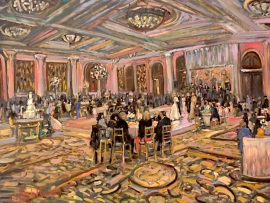 THE GRACE – GWIN  WEDDING RECEPTION  MONARCH BEACH RESORT   OIL  30″ X 40″  2-23-19