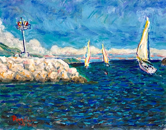 DANA POINT HARBOR   WATERCOLOR / PASTELS  9″ X 12″  3-18-2020  SOLD