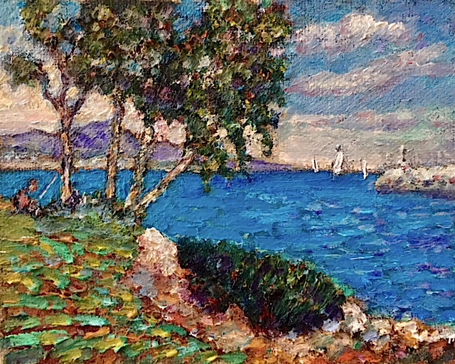 HARBOR SIDE  DANA POINT CA.  oil  8″ x 10″   7-2-18