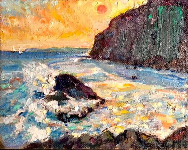 HEAT WAVES  DANA POINT CA.   OIL  8″ X 10″  JULY 6 2018