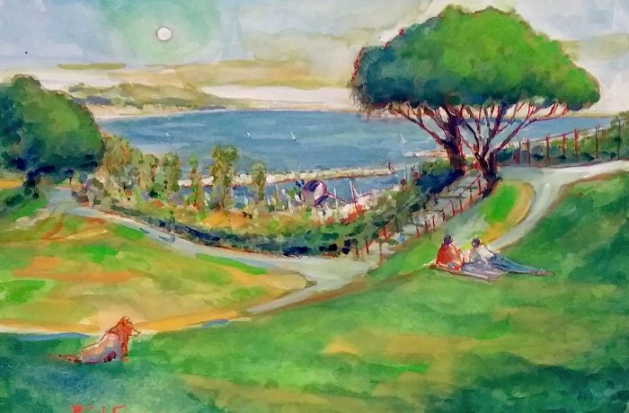 HERITAGE PARK  DANA POINT Ca.     watercolor    12″ x 16″ 8-6-17