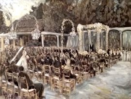 THE KAPLAN, MARCO WEDDING CEREMONY  in Black & White Tones   Hidden Hills Ca.    oil 30″ x 40″  9-16-17