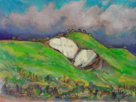 Hillside San Juan Capistrano Ca.  Watercolor/Gouache   11″ x 16″  2-3-17