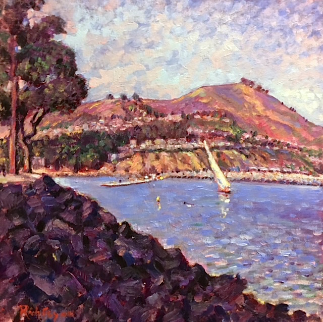 LATE AFTERNOON HORBOR  DANA POINT HARBOR CA.  oil  14″ x 14″   9-29-18