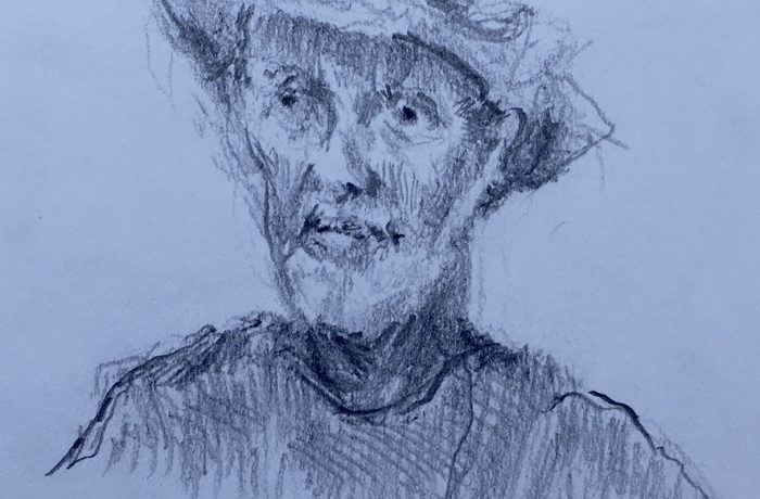 ARTIST JACK RUTHERFORD  pencil  9″ x 12″ Castaras Spain 10-13-17