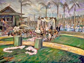 THE CEREMONY OF JAMMIE AND ARON   HUMPHREY'S HALF MOON BAY, SAN DIEGO CA.  oil  30″ x 40″  5-11-18
