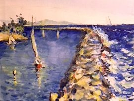 JETTY DANA POINT CA.  WATERCOLOR  12″ X 9″   4-12-18