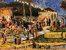 Justice's Halloween Party  Anaheim Hills Ca.   oil  12″ x 30″  10-26-19