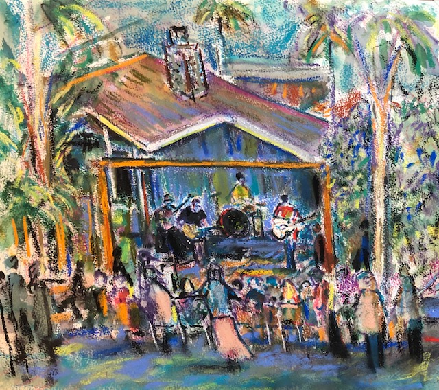 LIVE EVENT PAINTING    THE KENTUCKY PLAYBOYS   NEIGHBORHOOD  CONCERT  DANA POINT CA.  WATERCOLOR / PASTELS   14″ X 18″  SOLD  5-10-2020