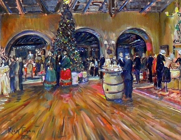 """A Dickens Night Christmas"" Virginia Country Club  Long Beach Ca  oil  30″ x 40″"