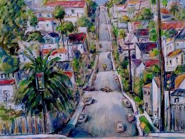 LA CRESTA ST.  DANA POINT Ca.  watercolor  12″ x 16″  8-29-17
