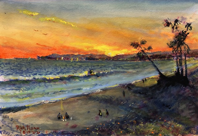 LAST WAVE   CAPO BEACH CA.   WATERCOLOR  11″ X 14″    8-15-2020  SOLD