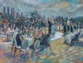 THE SHAPIRO COOKE WEDDING RECEPTION  LONDON WEST HOLLYWOOD Ca.   oil 30″ x 40″  8-30-17