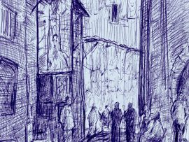 MARRAKECH MEDINA 2   MOROCCO  ink  12″ x 9″ 10-8-17