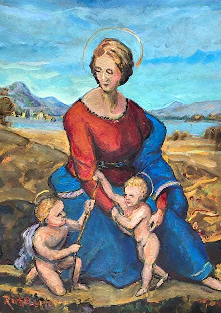RAPHAEL'S MADONNA OF THE MEADOWS    WATERCOLOR  9″ X 12″  11-28-2020