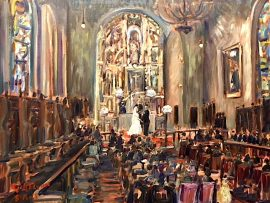 THE VARGAS WEDDING  CEREMONY    ST. FRANCIS CHAPEL  MISSION INN RIVERSIDE CA.  oil  24″ x 30″ 8-18-18