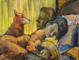 MOLLY DOG MORNING   WATERCOLOR   12″ X 18″   9-30-2021