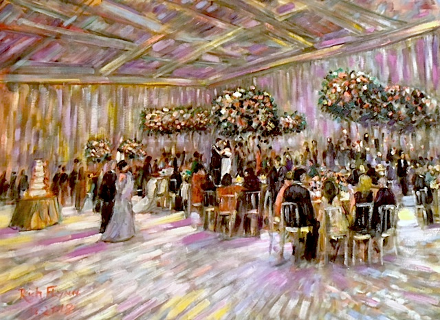 TAREK & LUBNA FAKHOURI  WEDDING RECEPTION  LIVE WEDDING PAINTING    MONTAGE RESORT  LAGUNA BEACH CA.  OIL  30″ X 40″  12-29-18