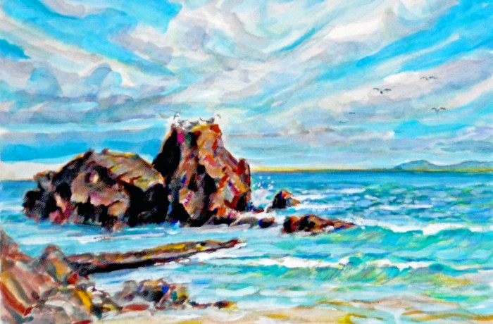 Moss Point  Laguna Beach, Ca  water color 11″ x 15″