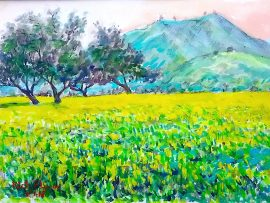 MUSTARD FIELD  Watercolor  11″ x 14″  2-2-17
