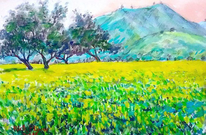 MUSTARD FIELD  Watercolor  11″ x 14″  2-2-17