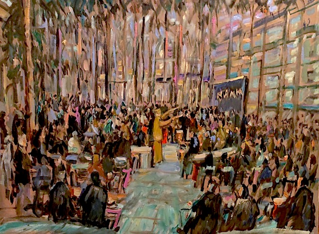 NAMM  CONVENTION DRUM CIRCLE    ANAHEIM CA.  ONE AND A HALF HOUR VERSION   OIL  30″ X 40″   1-17-2020 TO BE GIFTED TO THE CEO OF NAMM BY THE CITY OF ANAHEIM