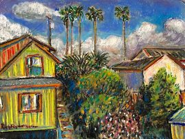 NIEGHBORHOOD  DANA POINT CA.  watercolor/ Pastel   9″ x 12″  3-23-2020