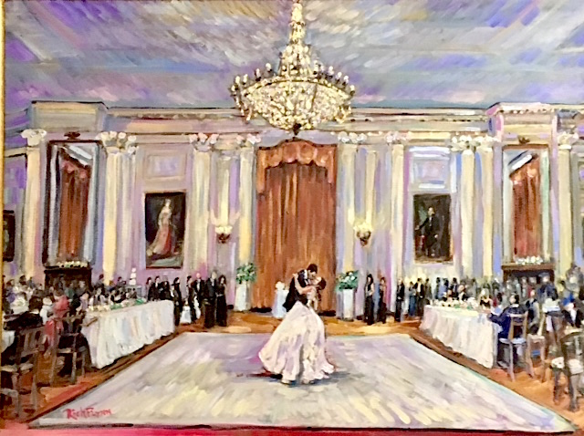 THE FORLANO VOORS WEDDING RECEPTION  RICHARD NIXON LIBRARY & MUSEUM  YORBA LINDA CA.  (STUDIO WORK FROM PHOTO'S) oil  30″ x 40″  9-25-18