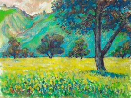 OAKS & MUSTARD FIELD  San Juan Capistrano Ca.  watercolor & color pencils  14″ x 18″ 2-8-17