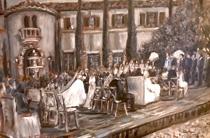 The Huenergardt Wedding Ceremony (A first in Black & White)  Ojai Valley Inn. Ojai Ca. oil 30″ x 40″