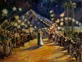 OLDT SPARKLER SEND OFF  (studio piece off photo) oil 30″ x 40″  11-16-15