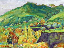 OSO CREEK  SAN JUAN CAPISTRANO, Ca  water color  11″ x 15″