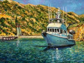 OUTWARD BOUND IN CHERRY COVE    SANTA CATALINA ISLAND CA.   CUSTOM COMMISSION  FROM PHOTO   WATERCOLOR   12″ X 18″ 12-7-2020