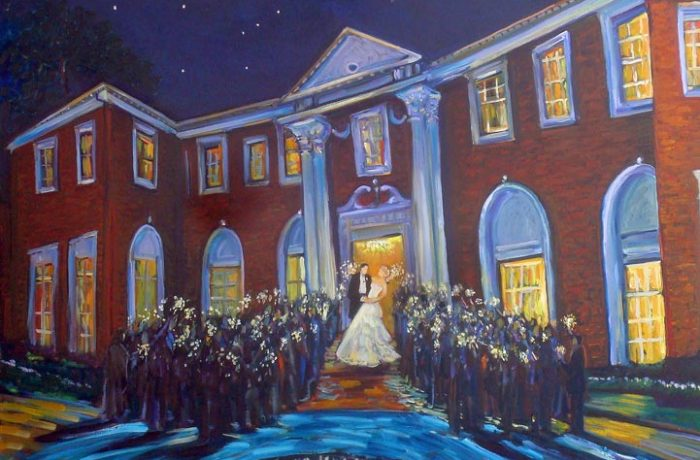 GREEN WEDDING Sparkler Send Off  (studio)  Seversky Mansion  Old Westbury New York.  oil 30″ x 40″